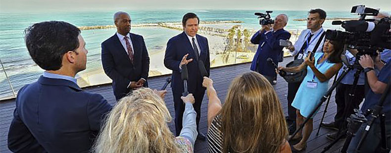 Israeli press gather to hear DeSantis on his first day in the Jewish state