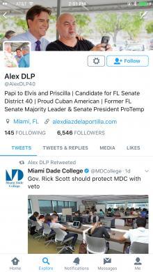 Alex Diaz de la Portilla follower count May 27