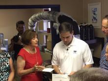 Gayle Harrell last week, briefing Marco Rubio on the algae crisis in Martin and St. Lucie counties