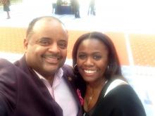 "Leslie Wimes and Roland Martin, host of TV One's ""News One Now"""