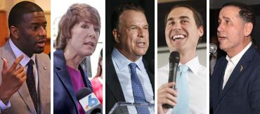 Andrew Gillum, Gwen Graham, Jeff Greene, Chris King, and Philip Levine