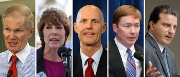 Bill Nelson, Gwen Graham, Rick Scott, Adam Putnam and Jimmy Patronis