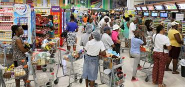 A Bridgetown, Barbados supermarket at this hour