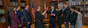 Ron DeSantis oversees Jan. 22 swearing-in of Justice Carlos Muñiz