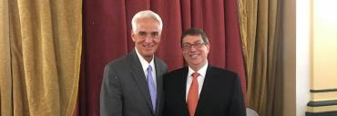 Charlie Crist and Cuban Foreign Minister Bruno Rodriguez Parrilla, in Cuba