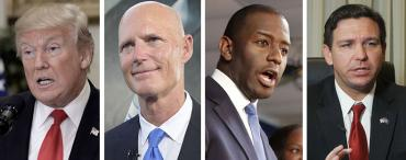 Donald Trump, Rick Scott, Andrew Gillum and Ron DeSantis
