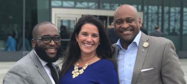 Rep. Shevron Jones, Sens. Anitere Flores and Oscar Braynon in Boston