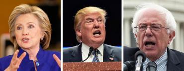 Hillary Clinton, Donald Trump and Bernie Sanders