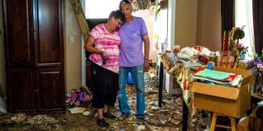 Don and Cherry Holm in their Michael-damaged home in Marianna