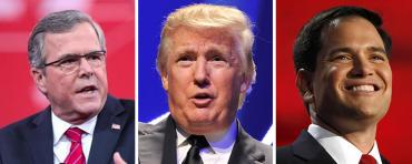 Jeb Bush, Donald Trump, and Marco Rubio