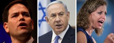 Marco Rubio, Benjamin Netanyahu and Debbie Wasserman Schultz