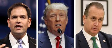 Marco Rubio, Donald Trump and Mario Diaz-Balart