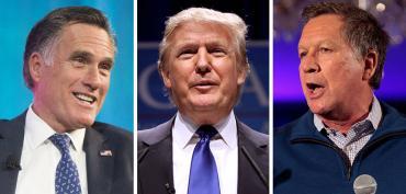 Mitt Romney, Donald Trump and John Kasich