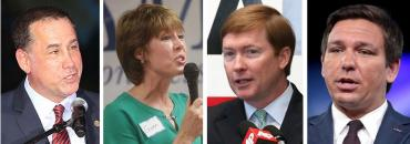 Philip Levine, Gwen Graham, Adam Putnam and Ron DeSantis