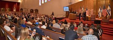 Scene at the Plantation synagogue Tuesday
