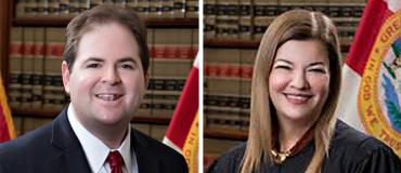 Justices Robert Luck and Barbara Lagoa