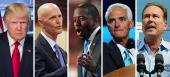 Donald Trump, Rick Scott, Andrew Gillum, Charlie Crist and Vern Buchanan