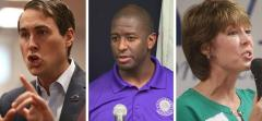 Chris King, Andrew Gillum and Gwen Graham