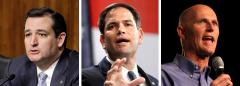 Ted Cruz, Marco Rubio and Rick Scott